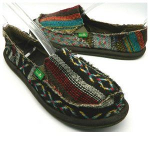 SANUK Donna Hemp LOAFERS SHOES Tribal Blanket Sz 6